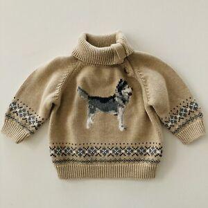 Janie and Jack Baby Boy 3-6 Months Sweater Husky Dog Fair Isle