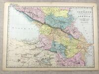 1891 Antik Map Of Armenien Die Kaukasus Georgia Circassia 19th Jahrhundert