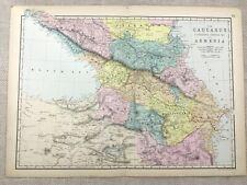1891 Antique Map of Armenia The Caucasus Georgia Circassia 19th Century