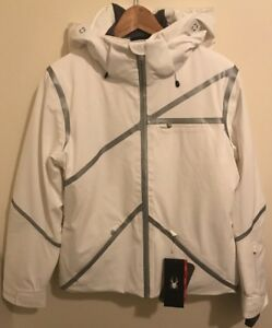 NWTs Spyder Women's Radiant Insulated Ski Jacket. Sz.10. White/Silver. MSRP $700