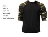 3/4 Sleeve Raglan Baseball Mens Plain Tee Jersey Sports T-Shirt Black Camou S
