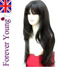 Ladies Long Dark Brown Full Wig Hair Stunning XXX Long Page Style Fashion Wig