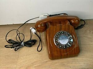 Vintage Style Wild & Wolf 746 Push Button Dial Telephone- Wood Effect Plastic