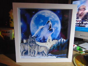 Wolf / Wolves Moon..Box Frame Light. Personalised FREE. battery lights included