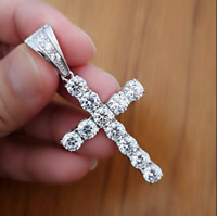 2.20Ct Round Cut VVS1/D Diamond Cross Pendant 14K White Gold Finish Free Chain