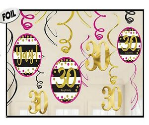 Pink & Gold Milestone 30th Birthday Hanging Swirl Decorations Thirtieth Dangler
