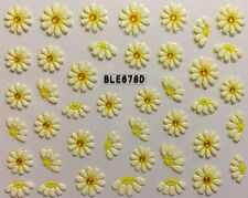 Nail Art 3D Decal Stickers White Daisy Flower Pretty Flowers BLE678D