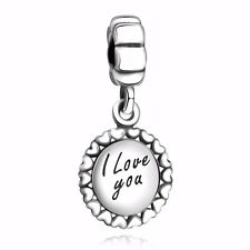 I love you to the moon and back 2018 Silver Charm Bead Fit 925 Sterling Bracelet