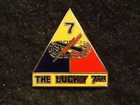 """US Army 7th Seventh Armored Division """"The Lucky 7th"""" Hat Jacket Pin Clutch Back"""