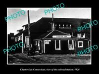 OLD LARGE HISTORIC PHOTO OF CHARTER OAK CONNECTICUT THE RAILROAD DEPOT c1920