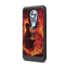 Carbon Design Black Case Cover Motorola Moto E5 XT1920 - Fire Flames Guitar