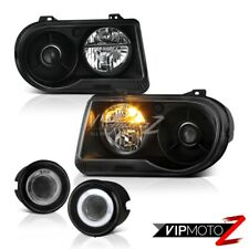 2005 2006 2007 Chrysler 300C 5.7L Matte Black Headlights Projector Euro Foglamp