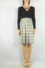 Vintage 1970s Yello Black Check Waisted Midi Skirt Size S 10