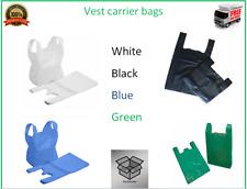 More details for plastic vest carrier bags polythene shopping bag blue white green black all size