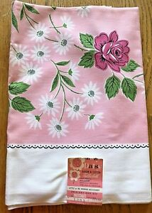 NWT Lazy Daisy Cloth Vtg Tablecloth by Maycroft #1301 Hand Printed Pink Floral