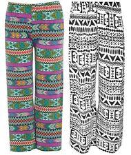 New Ladies curve Parallel Bottom Wide Leg Aztec Print Trousers 16-26