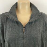 Jones New York Sport Full Zip Jacket Long Sleeve Cotton Gray Womens Plus Size 3X