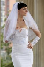 Bridal Veil Diamond (Off) White 2 Tiers Elbow Length With Edge Trimmed In Beads