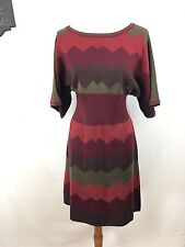 Dressbarn Women's Fall Colors Chevron Sweater Dress Short Sleeve Sz XL