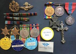 WW2 R.A.F AIR CREW EUROPE STAR GROUP BOAC BADGES & FATHERS WW1 KRRC PAIR & ISM.