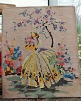 Art Deco  Crinoline Lady Embroidery Picture Gross Point Hollyhocks Garden Scene
