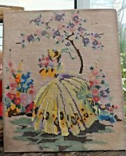 Art Deco  Crinoline Lady Embroidery Picture Gross Point Hollyhocks Garden Scene