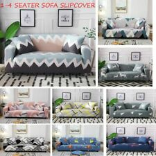 1-4 Seaters Geometric Pattern Elastic Slipcover Dustproof Protector Sofa Case