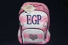 """Pottery Barn Fairfax Girls Striped Pink White Small Backpack NWT FREE SHIP """"EGP"""""""