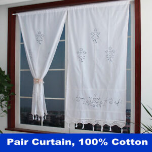 2X Curtains Cotton Crochet Window Curtain Country Style Room Kitchen Drape Panel