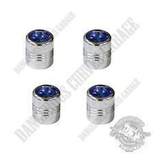 4 Chrome Billet Aluminum Swarovski® Blue Diamond Wheel Valve Stem Dust Caps