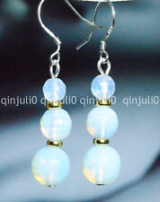 BEAUTIFUL! WHITE FACETED MOONSTONE BEADS DANGLE DROP EARRING SILVER HOOK JE48