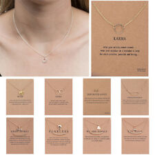 Women Necklace Pendant Gold Clavicle Chains Choker With Card Valentine's Gift