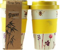 Set Of 2 Busy Bumble Bee Bamboo Eco Friendly Travel Mugs / Cups With Lids