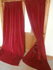 "Beautiful Long Red Vintage Velvet Curtains 92""Drop ~ 90""Wide. Lined. CLEANED."