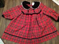 Bonnie Jean girls size 2T Christmas Dress, red plaid, EUC!