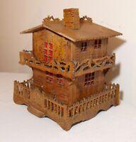 intricate antique handmade wood Tramp Art wooden house sculpture Folk Art