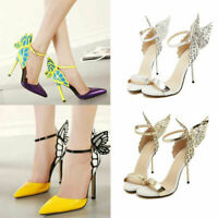 Womens Butterfly Wings Stiletto High Heels Bowtie Toe Ankle Strap Sandals Shoes