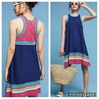 Akemi + Kin Anthropologie Blue Crochet Swing Tank Dress Size M Flax Sleeveless