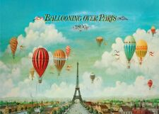 BALLOONING OVER PARIS, 1890, Vintage French Travel Poster