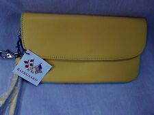 BAEKGAARD CLUTCH WRISTLET LEMON WITH CARIBBEAN BLUE  NWT