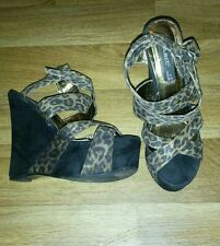 Select Leopard Print Ankle Straps, Strappy  Wedges Size 5