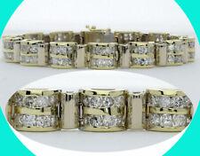 10CT! H Diamond double row coaster bracelet 14K tt/gold 112 round brilliant 31G