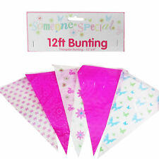 12ft Pink Assorted Weatherproof Bunting - Mother's Day, Birthday, Fetes