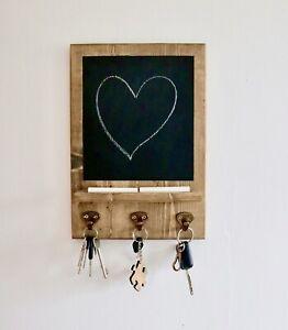 Key Holder Chalk Board / Notice memo Board/ Solid Wood - HANDMADE In The UK
