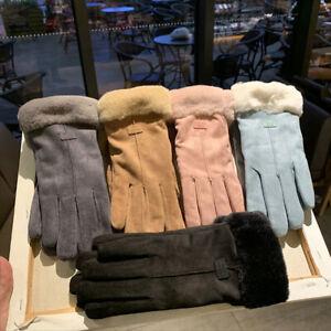 """Warm Winter"" Women Gloves Fashion Mittens Suede Fabric Furry Soft Touchscreen"