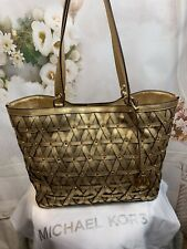 Michael Kors Large Brooklyn  Leather Lattice Gold Metallic Tote Bag NWTS $548