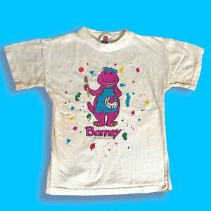 Vintage 1992 Barney the Dinosaur Cartoon Artist Painter T Shirt Made in USA SM