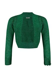 Lurex Bolero Shrug Long Sleeve Shiny Knitted Top Cardigan Crop Short Womens