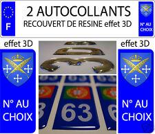 2 sticker plaque immatriculation auto RESINE 3D BLASON ARMOIRIES SAINT ETIENNE