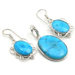 """TURQUOISE & 925 SILVER PLATED PENDANT EARRING SET 1.4/1.5"""", S-5880"""